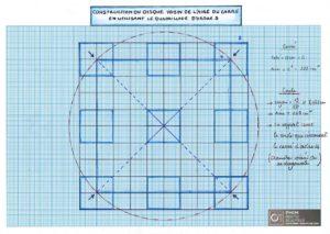 Construction du disque voisin de l'aire du carré en utilisant le quadrillage d'ordre 5