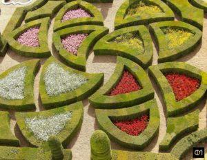 Détail d'un jardin carré d'ornement